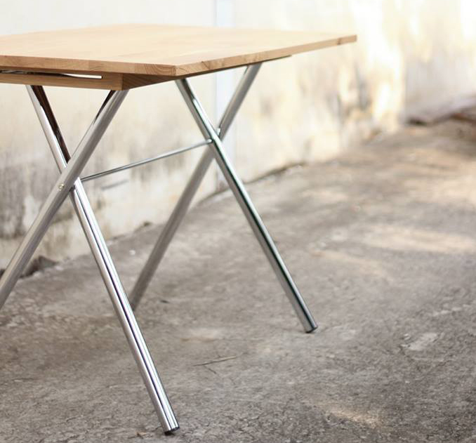 ébénisterie design franck grossel table pliante folding table chrome
